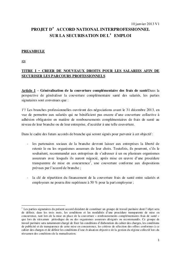 10 janvier 2013 V1         PROJET D'ACCORD NATIONAL INTERPROFESSIONNEL                SUR LA SECURISATION DE L'EMPLOIPREAM...