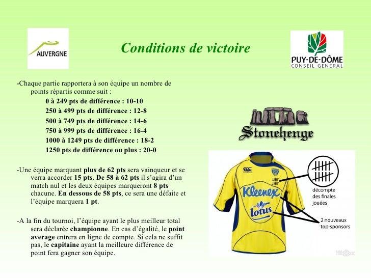 Conditions de victoire <ul><li>-Chaque partie rapportera à son équipe un nombre de points répartis comme suit: </li></ul>...