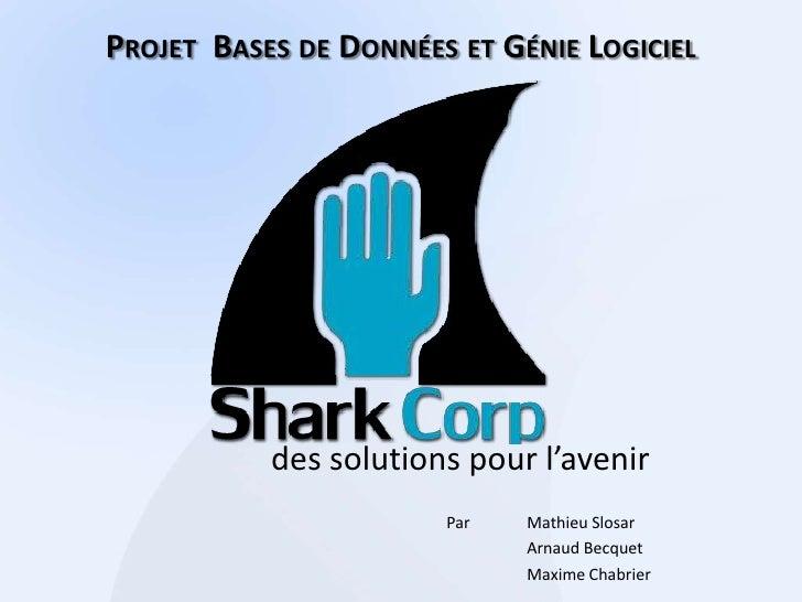 Projet  Bases de Données et Génie Logiciel<br />des solutions pour l'avenir<br />ParMathieu Slosar<br />Arnaud Becquet<b...