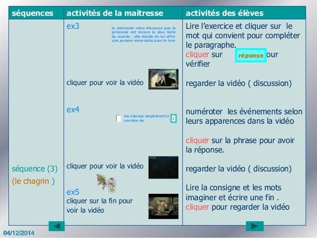 séquences activités de la maitresse activités des élèves séquence (3) (le chagrin ) ex3 cliquer pour voir la vidéo ex4 cli...