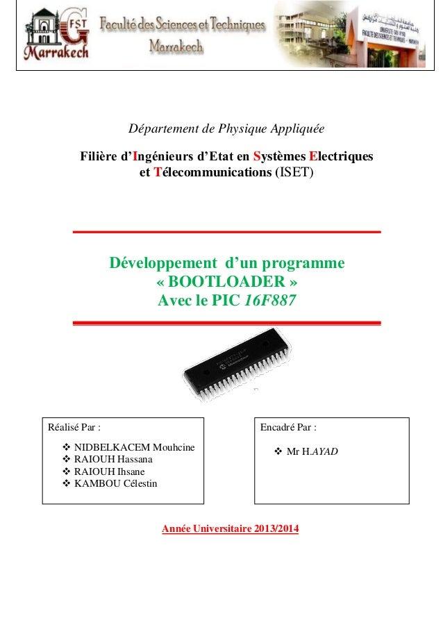 Département de Physique Appliquée Filière d'Ingénieurs d'Etat en Systèmes Electriques et Télecommunications (ISET)  Dévelo...