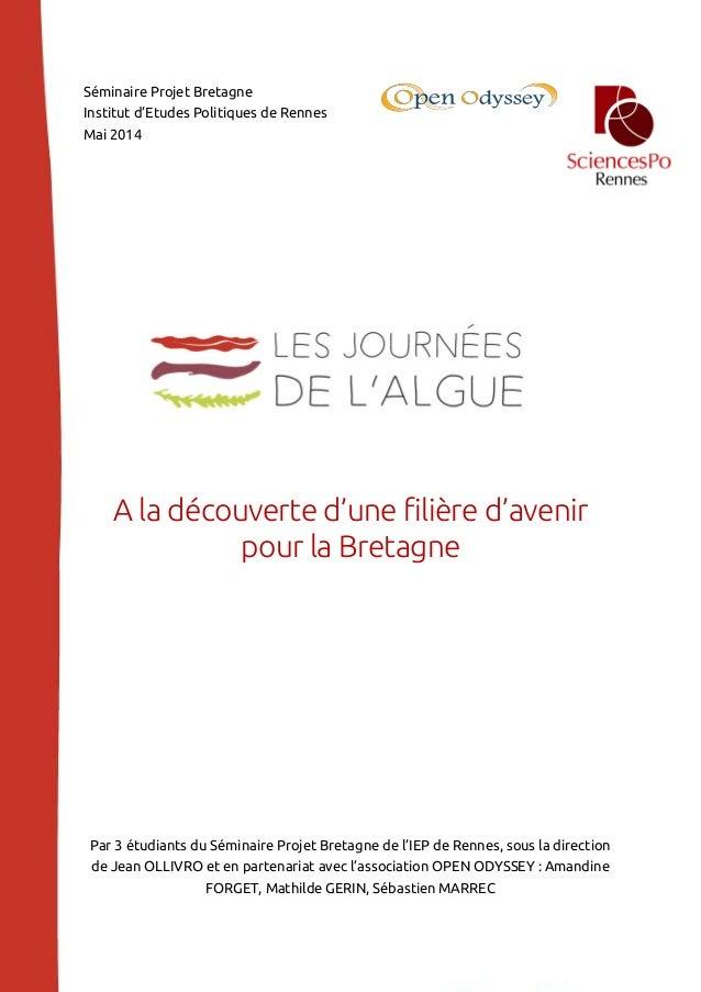 Séminaire Projet Bretagne Institut d'Etudes Politiques de Rennes Mai 2014 A la découverte d'une filière d'avenir pour la B...