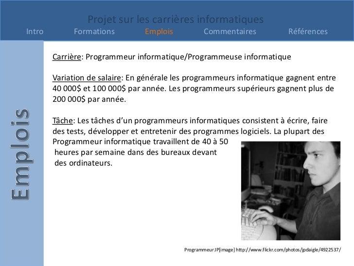 Projet sur les carrières informatiquesIntro        Formations          Emplois            Commentaires                    ...