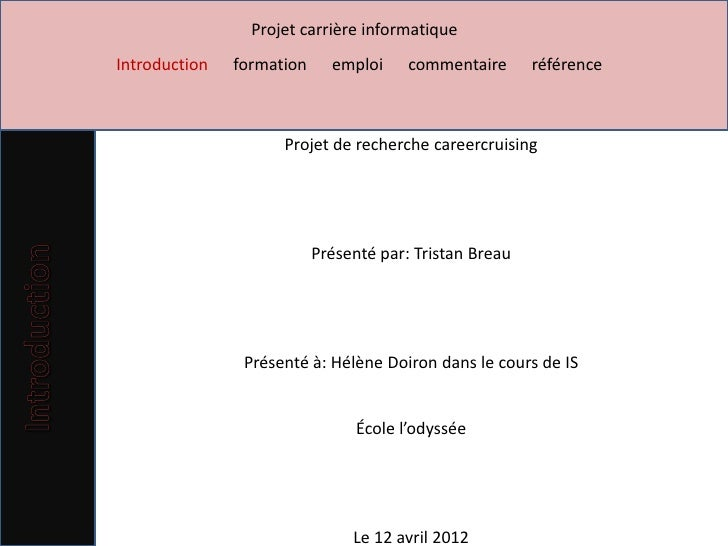 Projet carrière informatiqueIntroduction   formation     emploi     commentaire      référence                     Projet ...