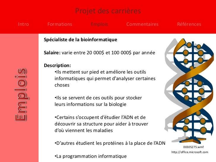 Projet des carrièresIntro    Formations          Emplois          Commentaires             Références        Spécialiste d...