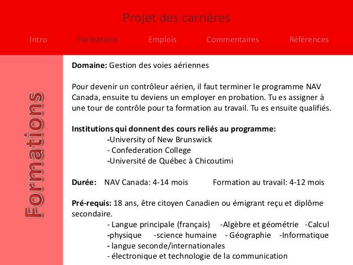 Projet des carrièresIntro    Formations           Emplois         Commentaires            Références        Domaine: Gesti...