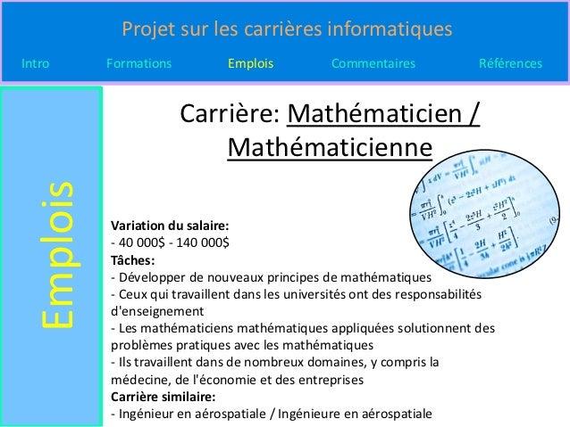 Projet sur les carrières informatiquesIntro       Formations          Emplois           Commentaires              Référenc...