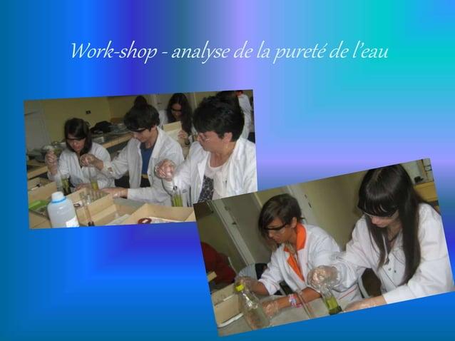 Work-shop - analyse de la pureté de l'eau