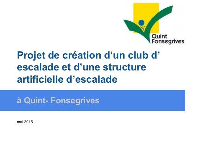 Projet de création d'un club d' escalade et d'une structure artificielle d'escalade à Quint- Fonsegrives mai 2015