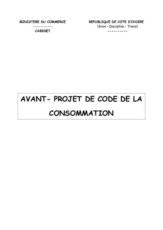 MINISTERE DU COMMERCE REPUBLIQUE DE COTE D IVOIRE --------------- Union Discipline Travail CABINET ---------- AVANT- PROJE...