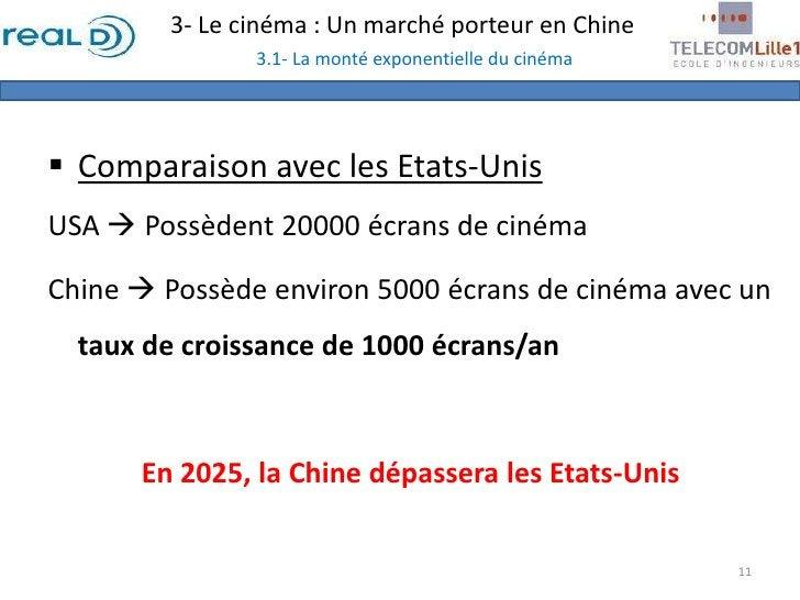 3- Le cinéma : Un marché porteur en Chine3.1- La monté exponentielle du cinéma<br /><ul><li>Comparaison avec les Etats-Uni...