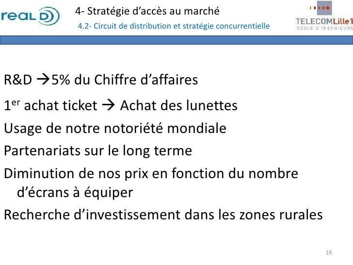 4- Stratégie d'accès au marché4.2- Circuit de distribution et stratégie concurrentielle<br />R&D 5% du Chiffre d'affaires...