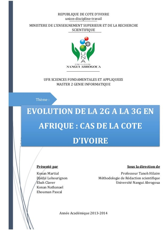 Thème :  REPUBLIQUE DE COTE D'IVOIRE  union-discipline-travail  MINISTERE DE L'ENSEIGNEMENT SUPERIEUR ET DE LA RECHERCHE  ...