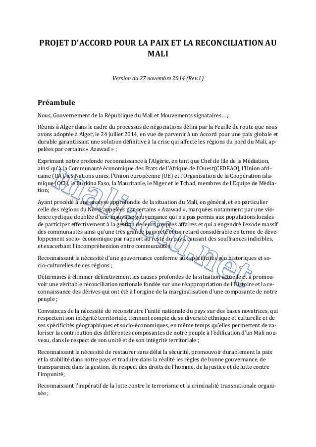 PROJET D'ACCORD POUR LA PAIX ET LA RECONCILIATION AU MALI  Version du 27 novembre 2014 (Rev.1)  Préambule  Nous, Gouvernem...