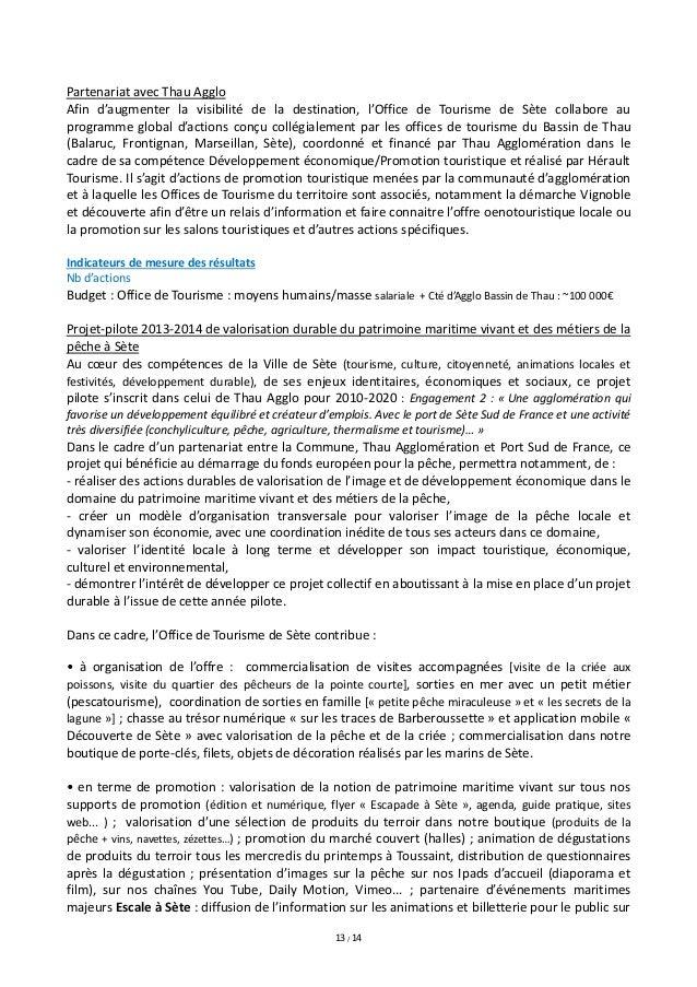 Projet d 39 activit 2014 office de tourisme de sete - Frontignan office du tourisme ...