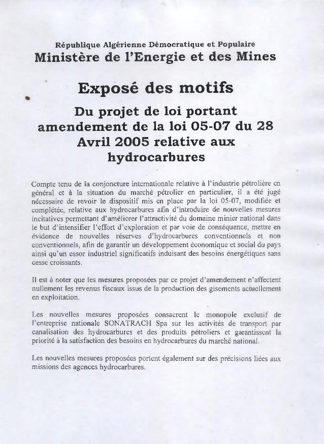R ép u b liq u e A lgérienne D ém ocratique e t P opulaire M inistère de l'Energie et d es M ines               Exposé des...