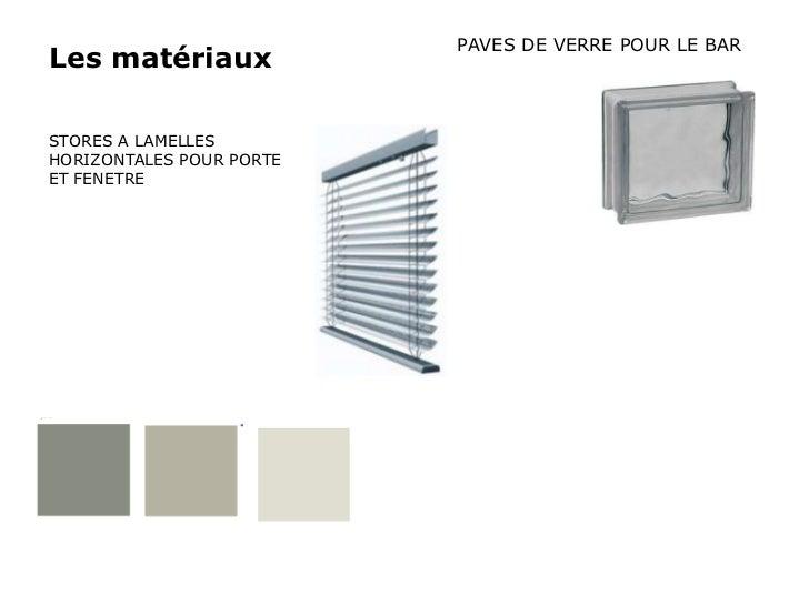 PAVES DE VERRE POUR LE BARLes matériauxSTORES A LAMELLESHORIZONTALES POUR PORTEET FENETRE