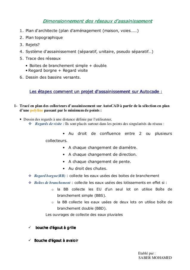 Etablé Par : SABER MOHAMED DiDiDiDimensionnement Des Réseaux Du0027assainissementmensionnement  Des Réseaux Du0027assainissementmen ...