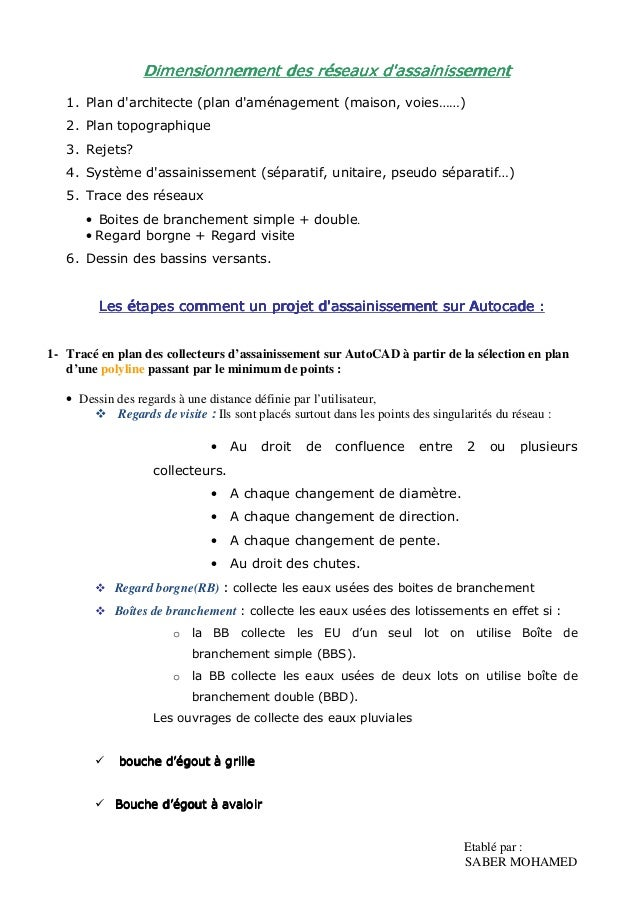 Etablé par : SABER MOHAMED DiDiDiDimensionnement des réseaux d'assainissementmensionnement des réseaux d'assainissementmen...