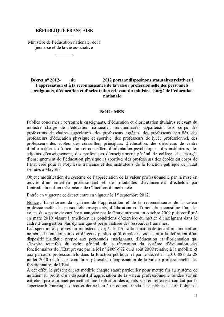 Projet décret 10 novembre 2011