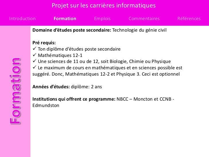 Projet sur les carrières informatiquesIntroduction       Formation          Emplois        Commentaires           Référenc...