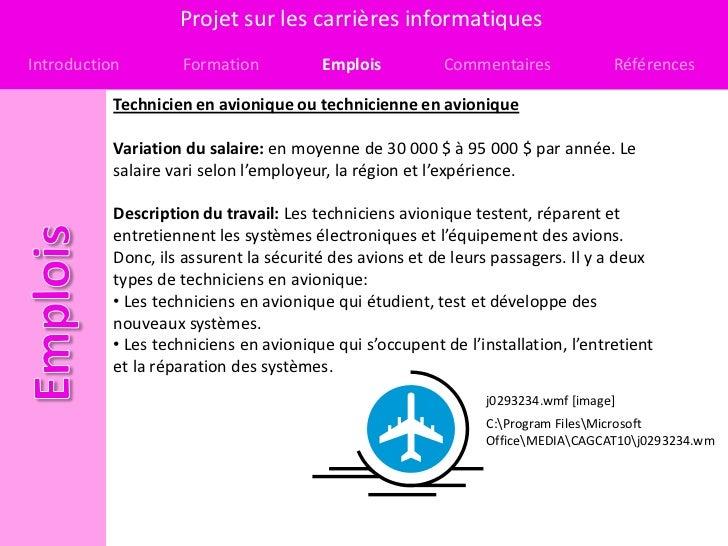 Projet sur les carrières informatiquesIntroduction        Formation           Emplois           Commentaires             R...