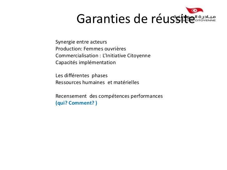 Garanties de réussiteSynergie entre acteursProduction: Femmes ouvrièresCommercialisation : L'Initiative CitoyenneCapacités...