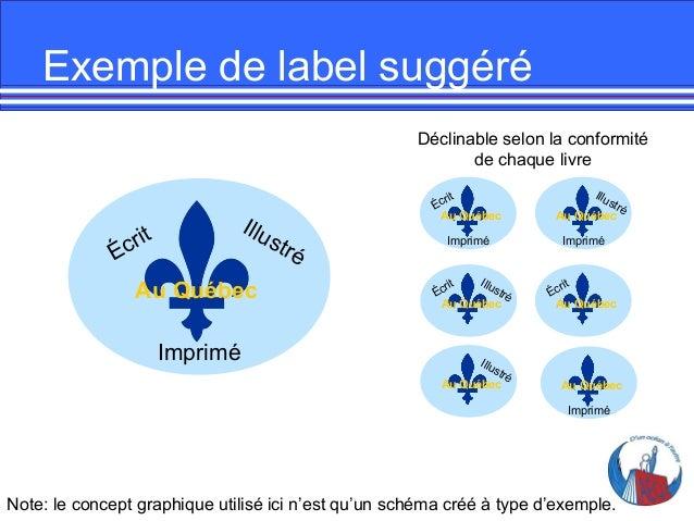 Exemple de label suggéré Déclinable selon la conformité de chaque livre  Illu  t cr i É  Au Québec Imprimé  rit Éc Au Québ...