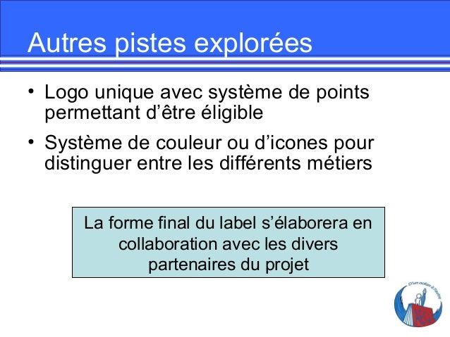 Autres pistes explorées • Logo unique avec système de points permettant d'être éligible • Système de couleur ou d'icones p...