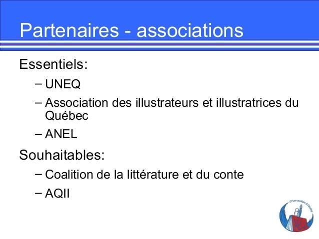 Partenaires - associations Essentiels: – UNEQ – Association des illustrateurs et illustratrices du Québec – ANEL  Souhaita...