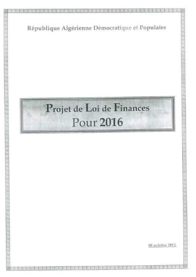 Projet de loi de finances pour 2016 -ALGÉRIE-