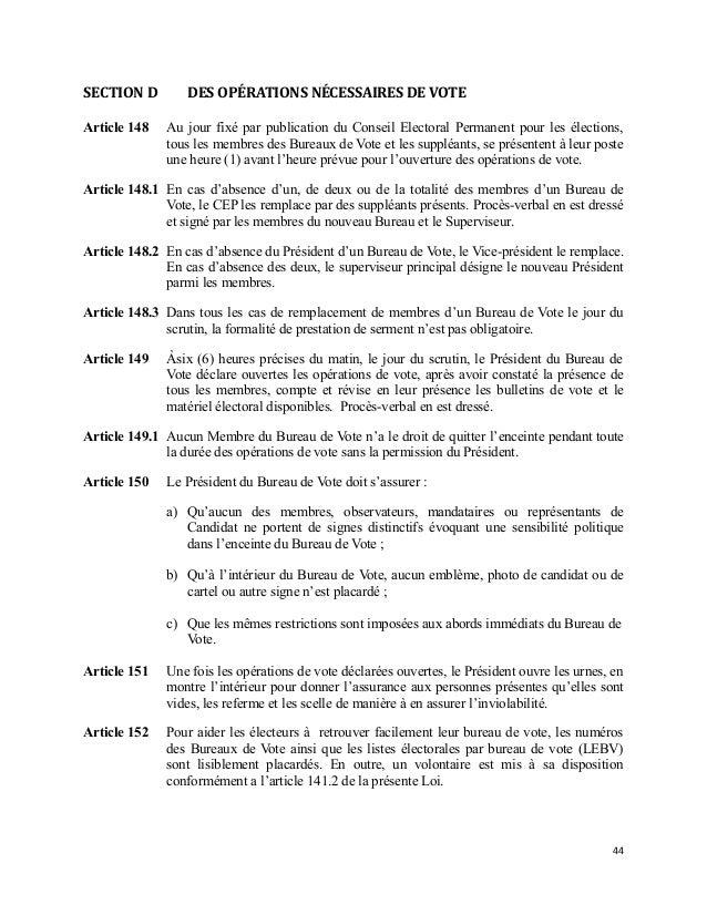 Haiti projet de loi electorale 2013 vote par le ctcep et envoye au p - Heure ouverture bureau vote ...