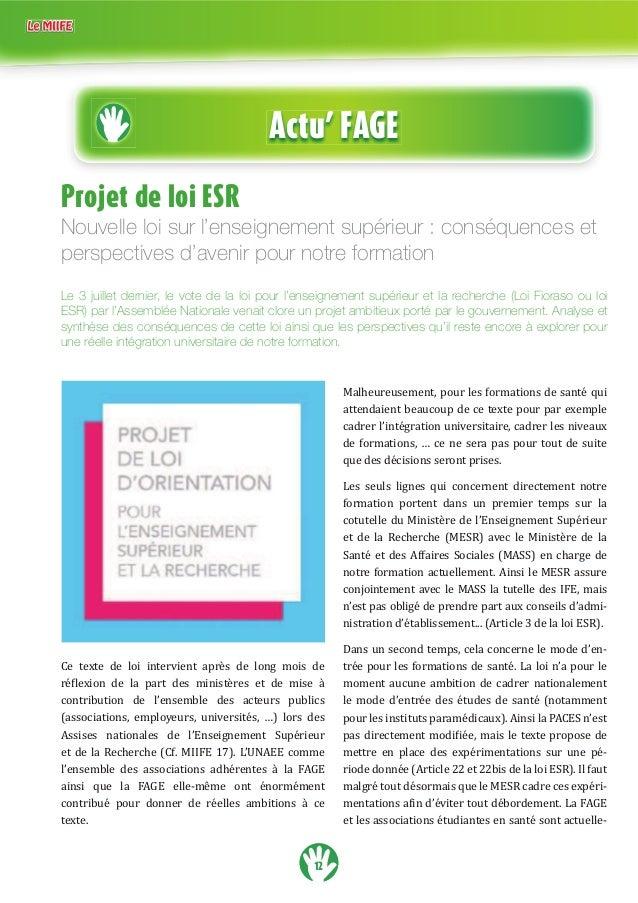 12 Actu' FAGE Projet de loi ESR Nouvelle loi sur l'enseignement supérieur : conséquences et perspectives d'avenir pour not...