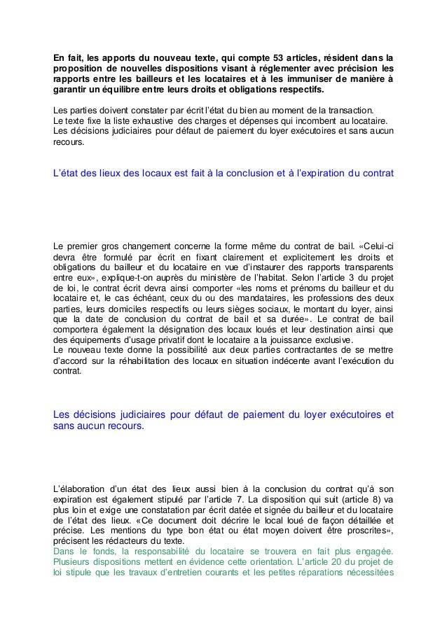 Projet de loi sur la location au maroc - Liste des charges locatives incombant au locataire ...