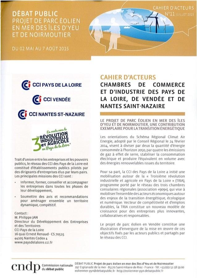 Cahier d'acteurs_Projet de parc éolien en mer des îles d'Yeu et de Noirmoutier_CCI_08/2015