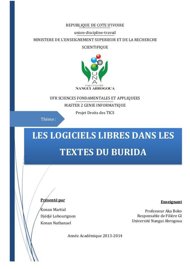 REPUBLIQUE DE COTE D'IVOIRE union-discipline-travail MINISTERE DE L'ENSEIGNEMENT SUPERIEUR ET DE LA RECHERCHE SCIENTIFIQUE...