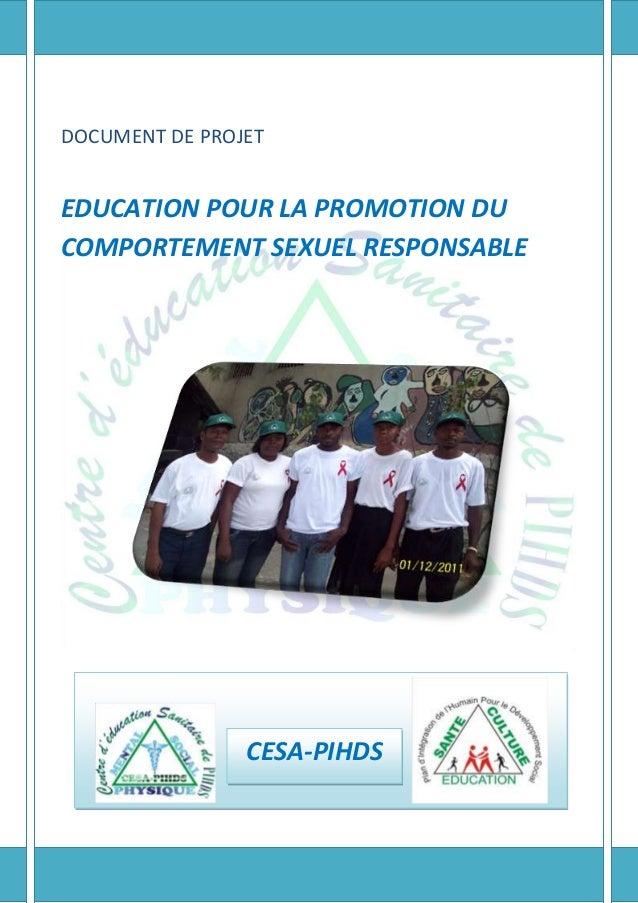 DOCUMENT DE PROJET  EDUCATION POUR LA PROMOTION DU COMPORTEMENT SEXUEL RESPONSABLE  CESA-PIHDS