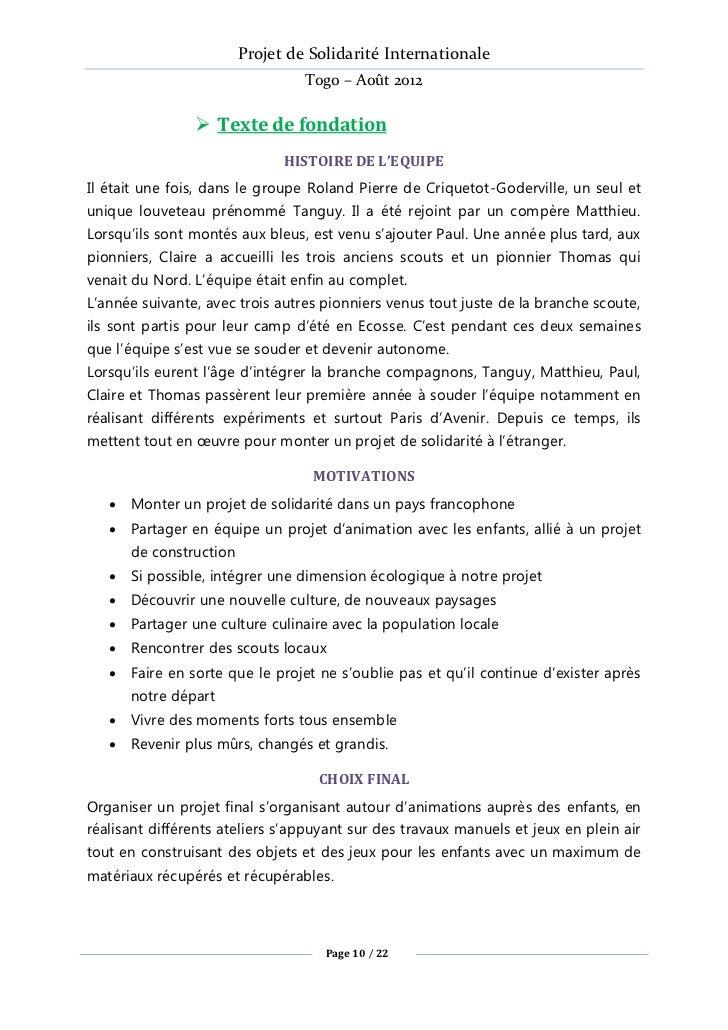 Projet de Solidarité Internationale                                 Togo – Août 2012                 Texte de fondation  ...
