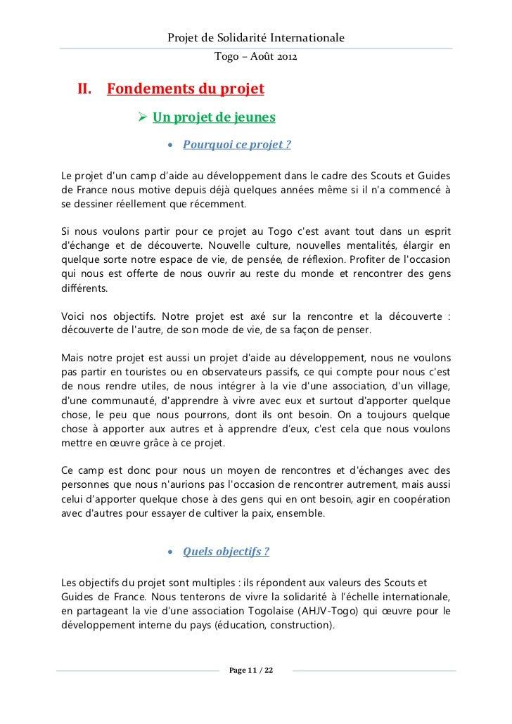 Projet de Solidarité Internationale                                Togo – Août 2012   II. Fondements du projet            ...