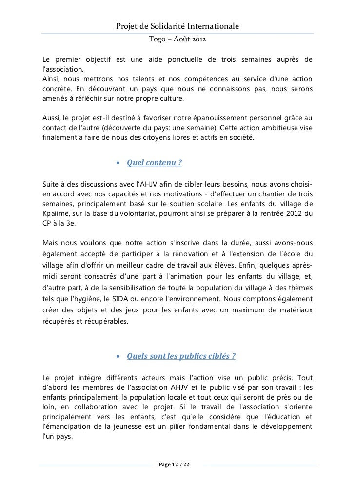 Projet de Solidarité Internationale                                 Togo – Août 2012Le premier objectif est une aide ponct...