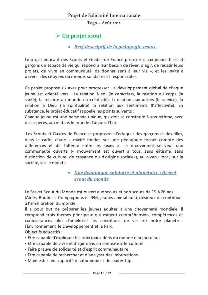 Projet de Solidarité Internationale                                 Togo – Août 2012                 Un projet scout     ...
