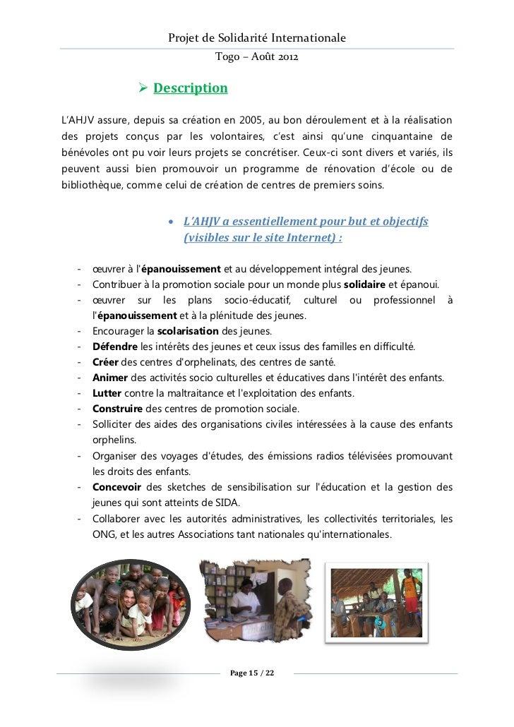Projet de Solidarité Internationale                                   Togo – Août 2012                  DescriptionL'AHJV...