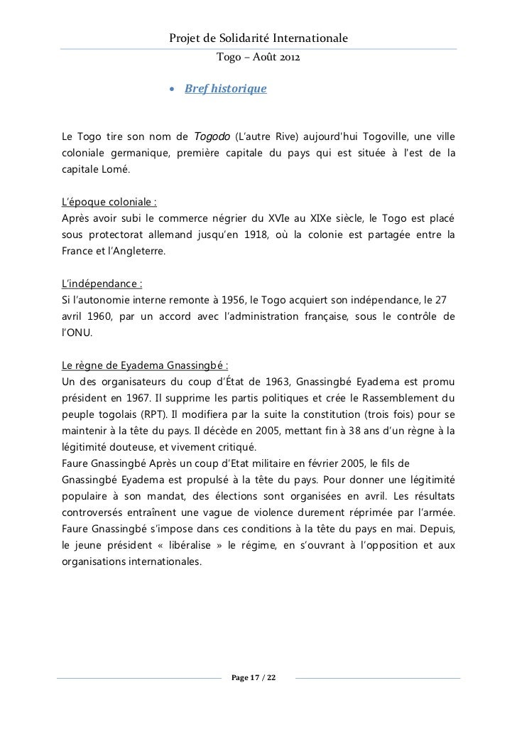 Projet de Solidarité Internationale                                   Togo – Août 2012                           Bref his...