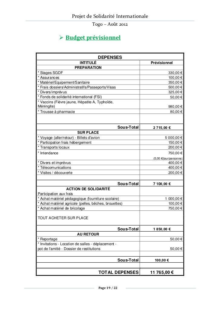 Projet de Solidarité Internationale                                    Togo – Août 2012                Budget prévisionne...