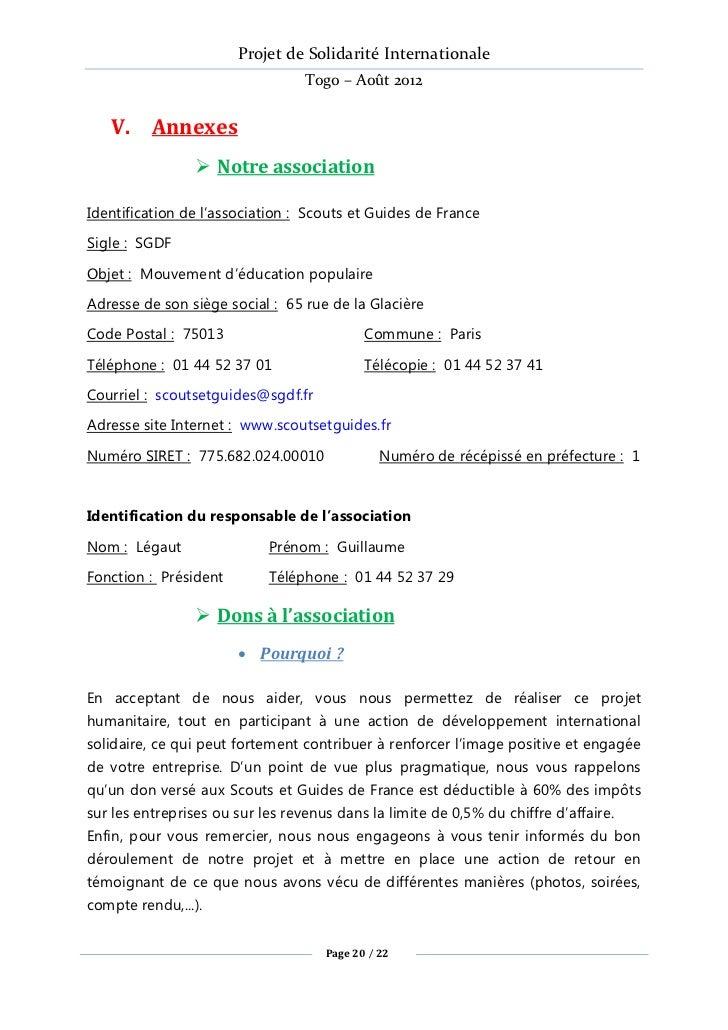 Projet de Solidarité Internationale                                 Togo – Août 2012   V. Annexes                 Notre a...