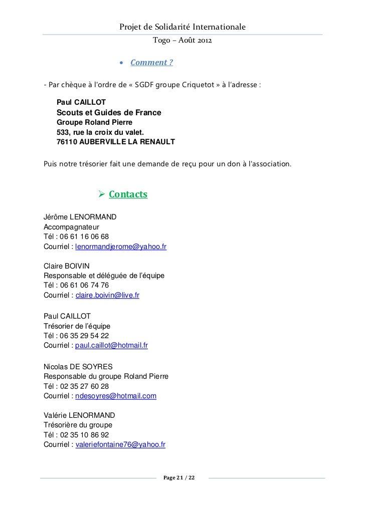 Projet de Solidarité Internationale                                     Togo – Août 2012                         Comment ...