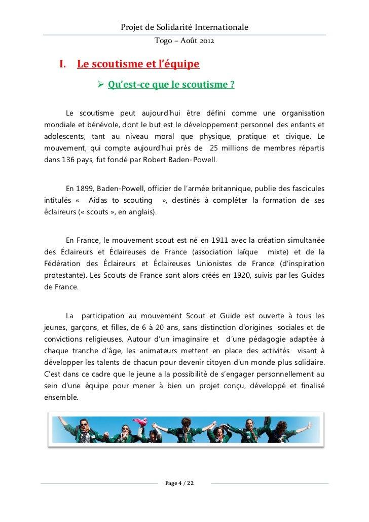 Projet de Solidarité Internationale                                   Togo – Août 2012    I. Le scoutisme et l'équipe     ...