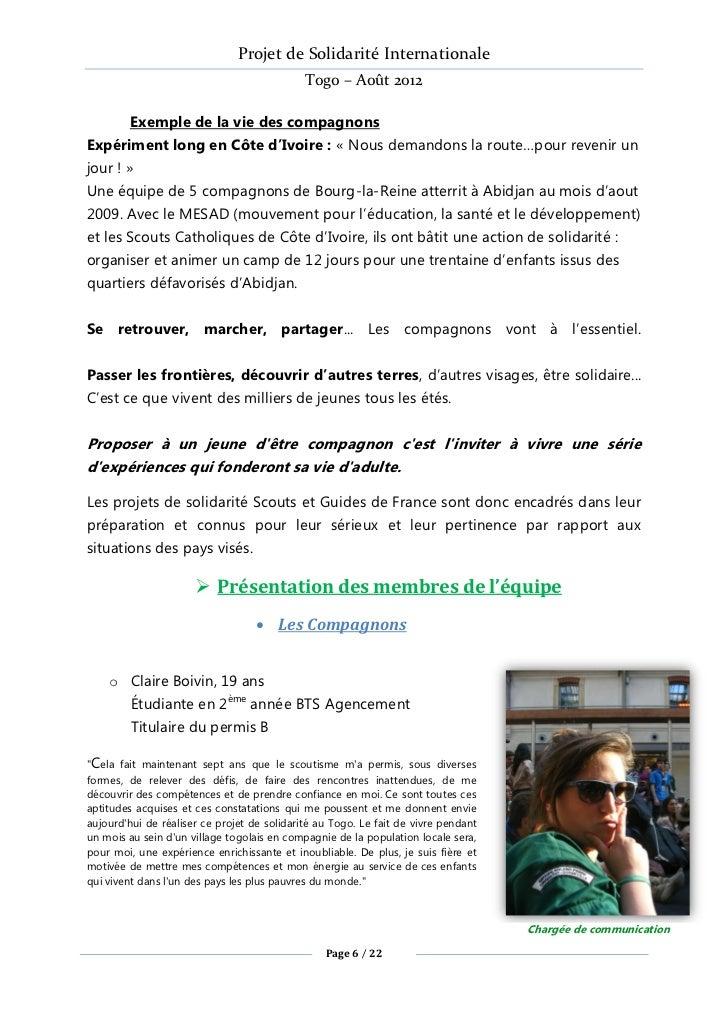 Projet de Solidarité Internationale                                             Togo – Août 2012        Exemple de la vie ...