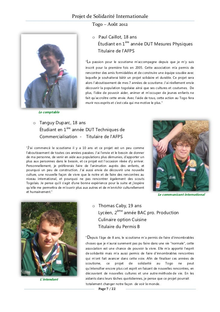 Projet de Solidarité Internationale                                             Togo – Août 2012                          ...