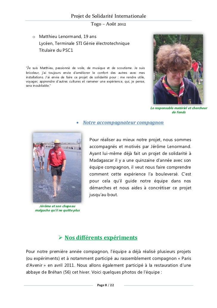 Projet de Solidarité Internationale                                            Togo – Août 2012    o Matthieu Lenormand, 1...